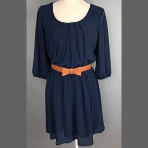A. Byer Navy sheer sleeve dress w/ bow belt Medium